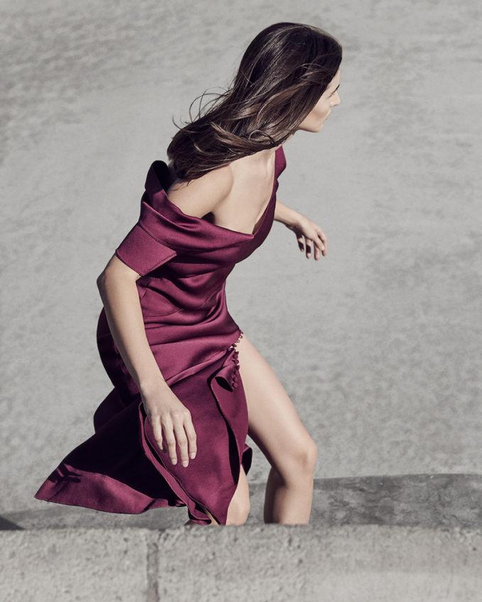 Prabal Gurung Hammered Satin Draped Shoulder Dress