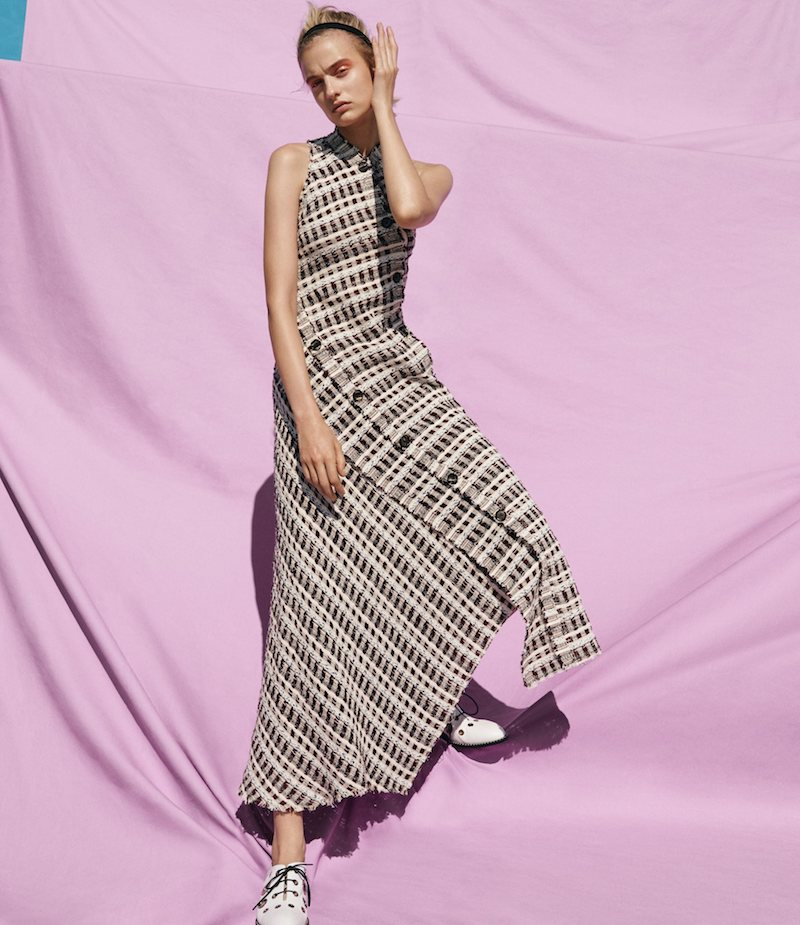 Proenza Schouler Bias-Cut Plaid Tweed Long Dress