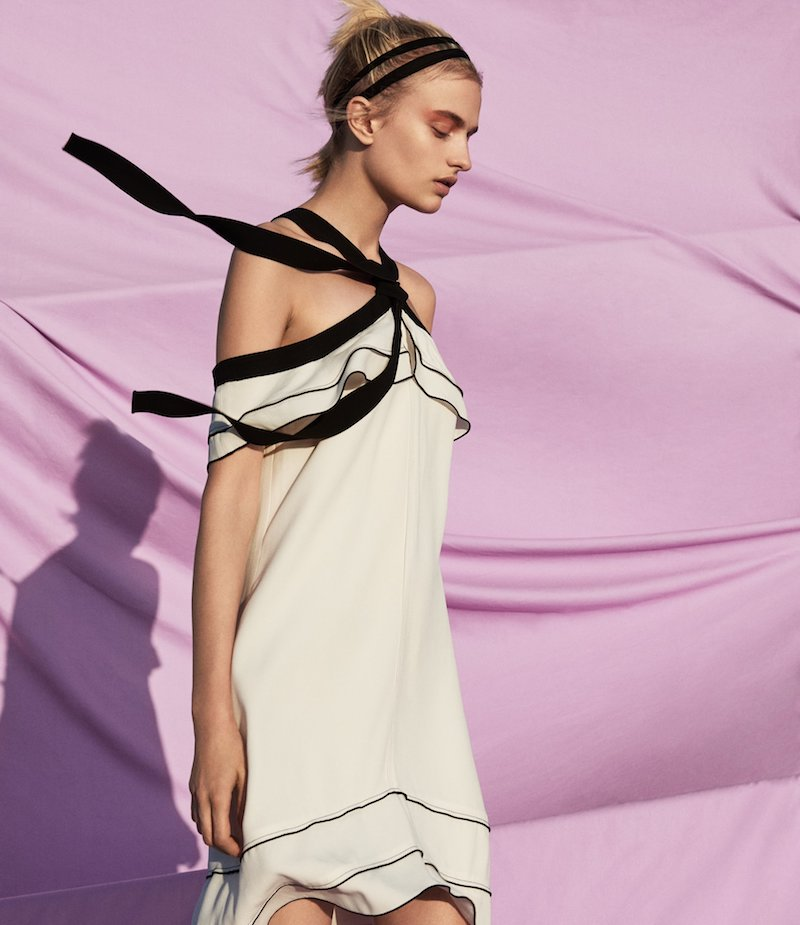 Proenza Schouler Off-The-Shoulder Halter Tie-Neck Dress