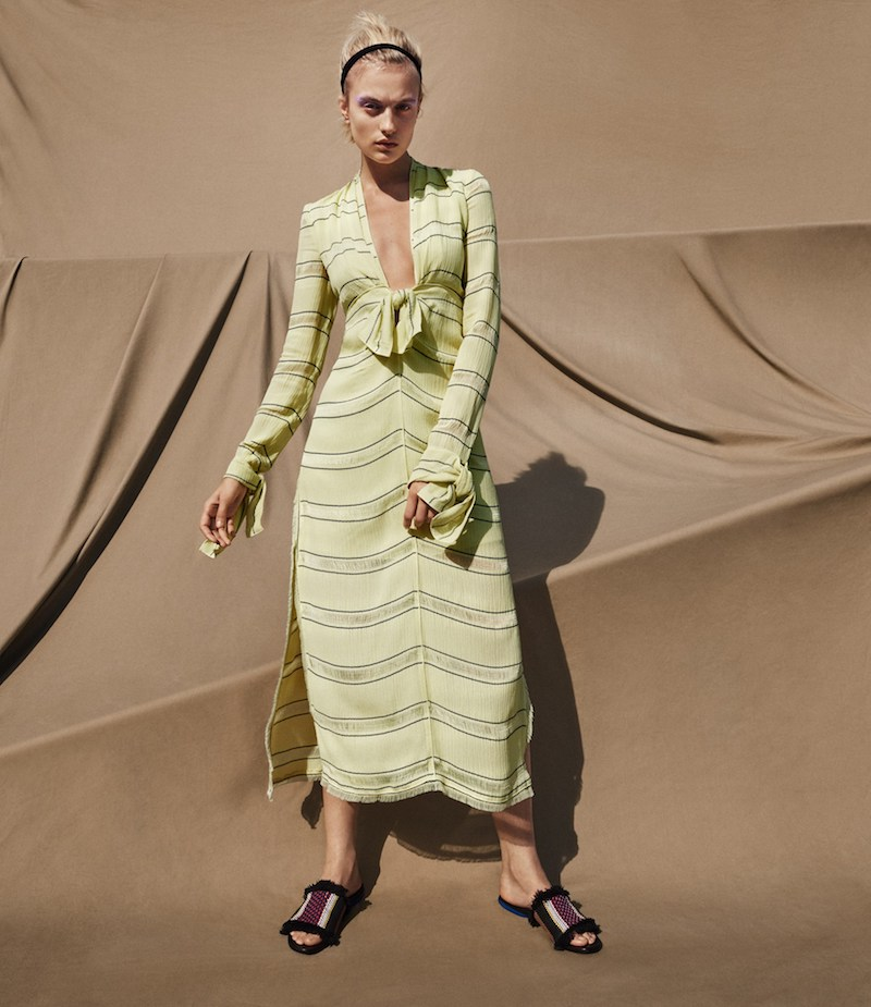 Proenza Schouler Striped Gauze V-Neck Long Dress