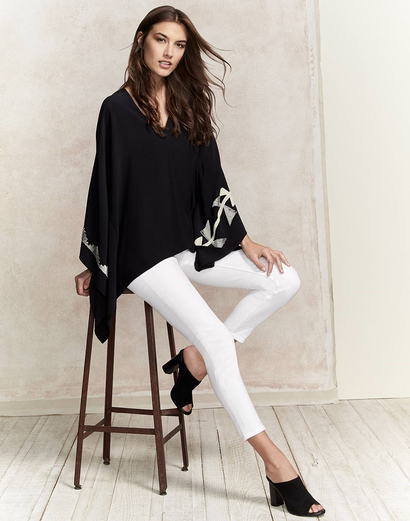 Ralph Lauren Collection Embroidered Cady Poncho Top