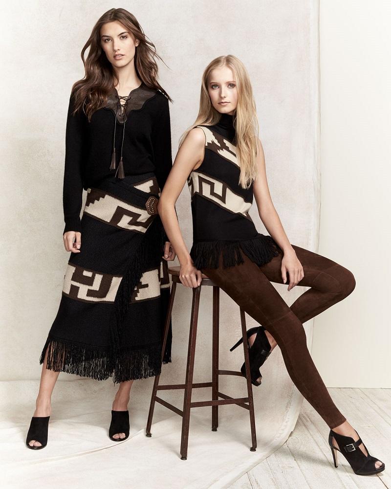Ralph Lauren Collection Intarsia Blanket Maxi Skirt