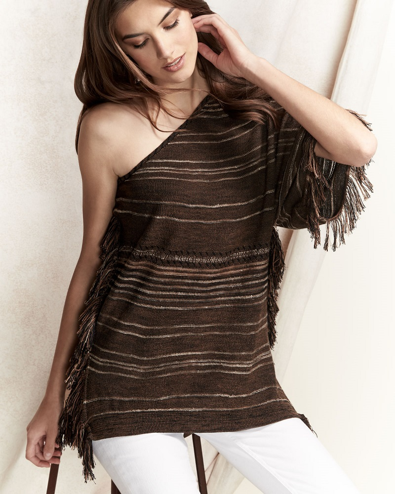 Ralph Lauren Collection Striped One-Shoulder Fringe Tunic