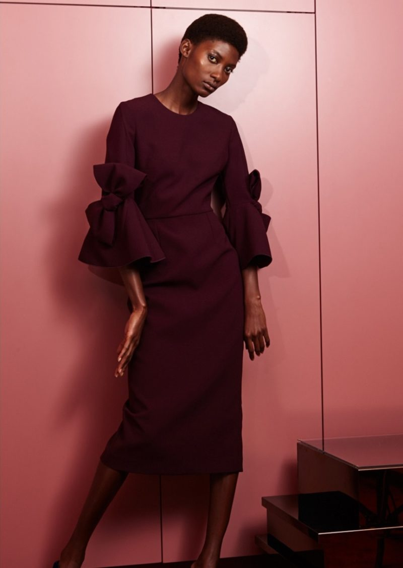 Roksanda Lavete bow-sleeved crepe midi dress-
