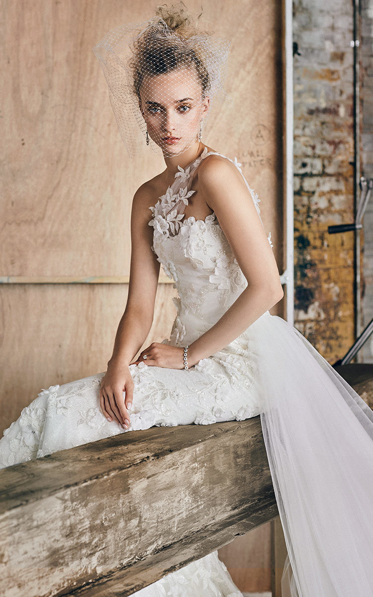 Romona Keveža M O Exclusive One Shoulder Embroidered Lace Gown