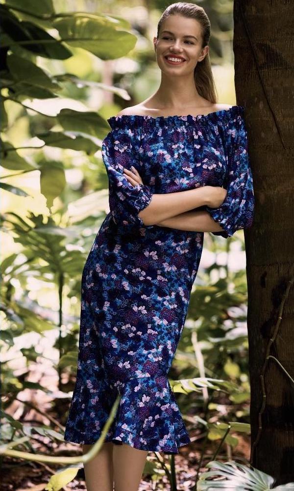 SALONI Grace Silk Off-The-Shoulder Dress