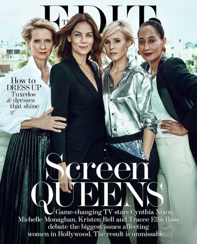 Screen Queens Cynthia Nixon, Tracee Ellis Ross, Kristen Bell & Michelle Monaghan for The EDIT Cover