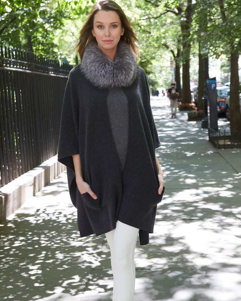 Sofia Cashmere Cashmere Fur-Trim Poncho with Pockets