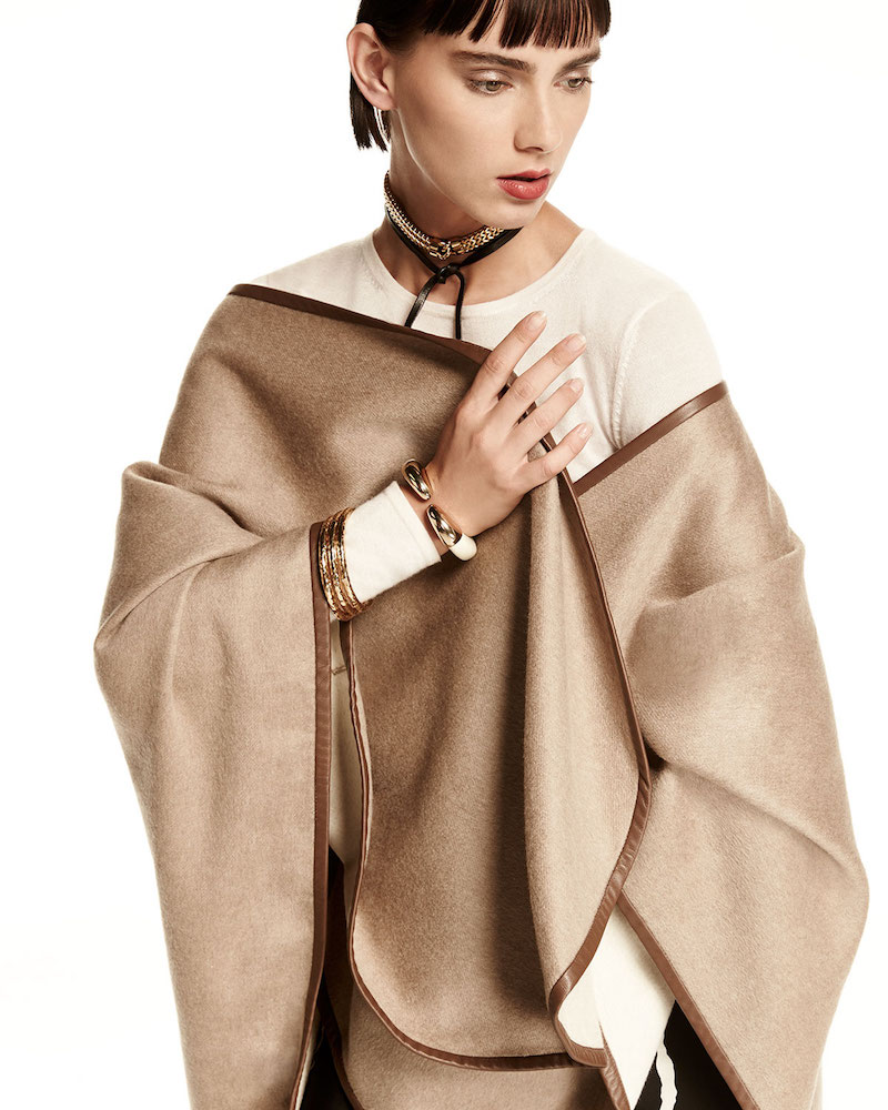 Sofia Cashmere Leather-Trim Cashmere Cape