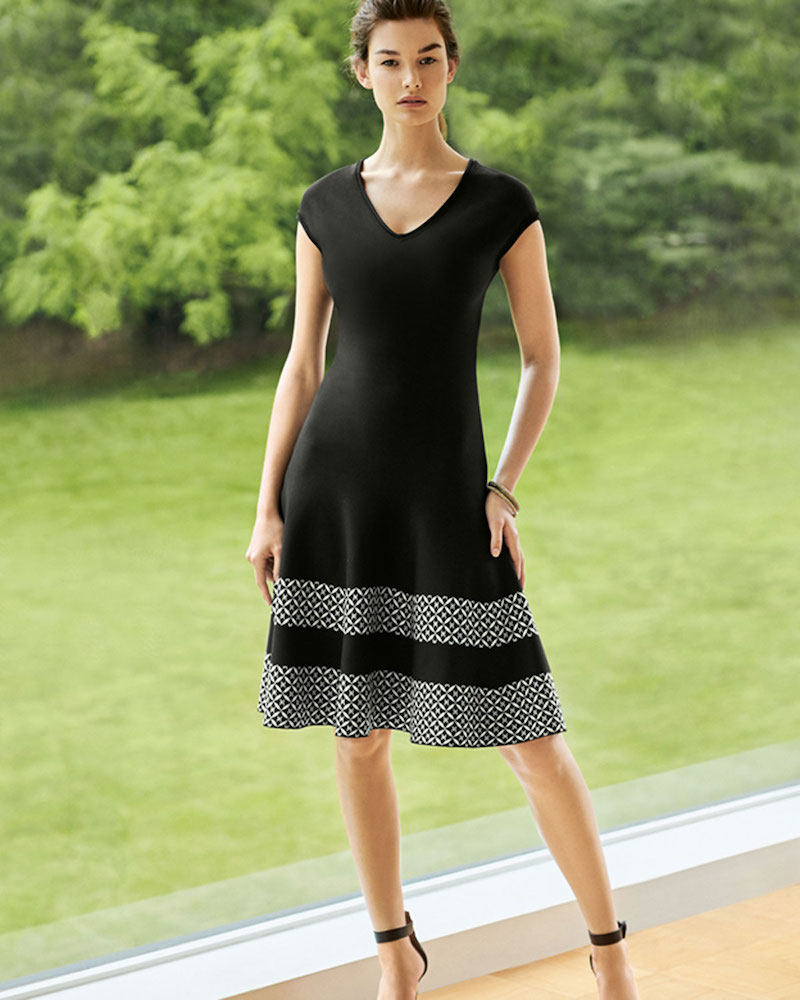St. John Collection Pinwheel Jacquard Cap-Sleeve Dress