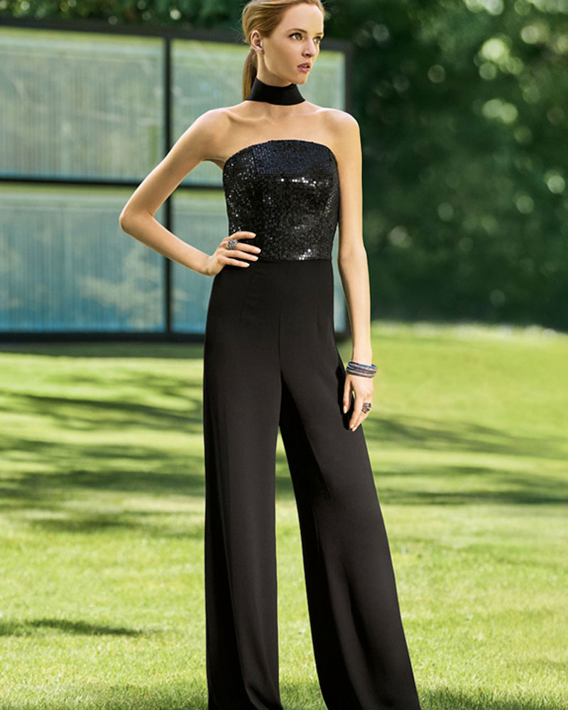 St. John Collection Strapless Sequined Wide-Leg Jumpsuit