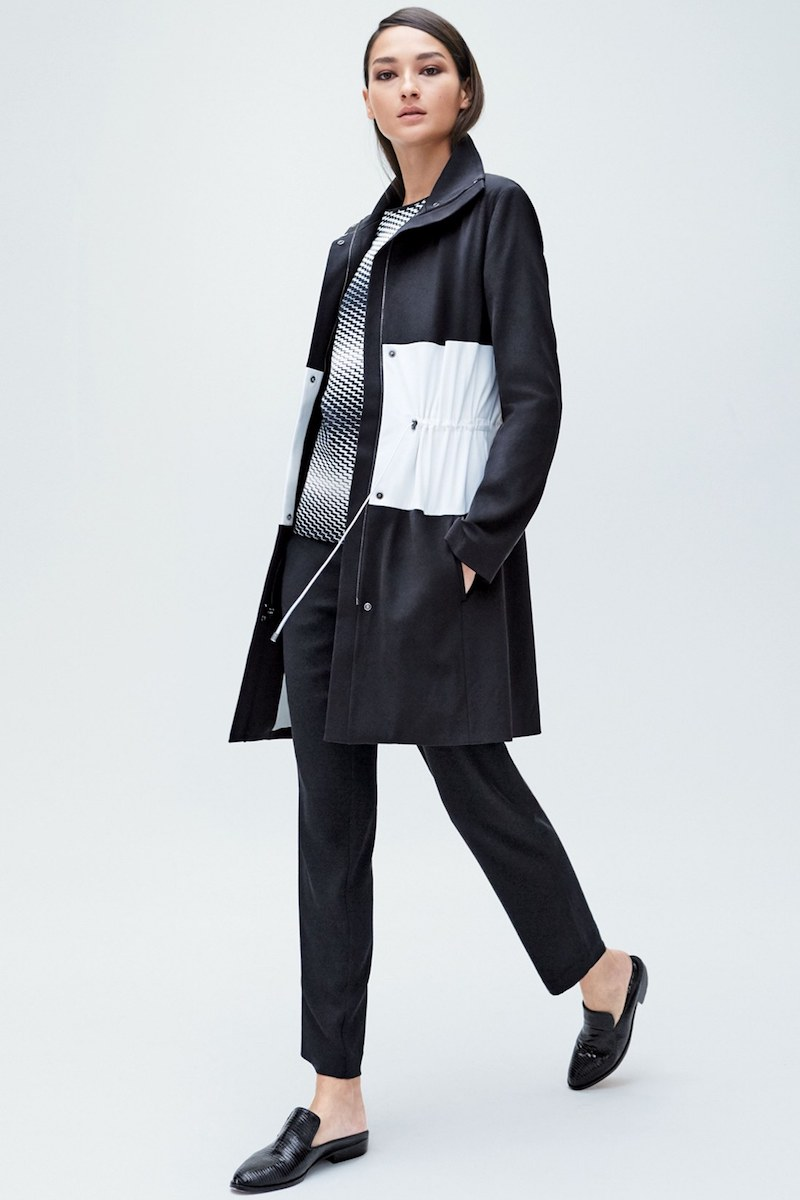 St. John Sport Collection Colorblock Stretch Tech Twill Coat
