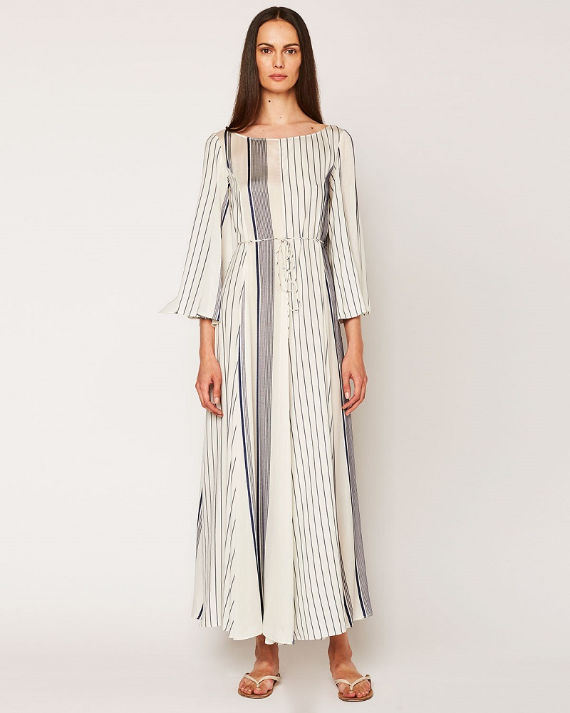THE ROW Selar Striped Long-Sleeve Maxi Dress