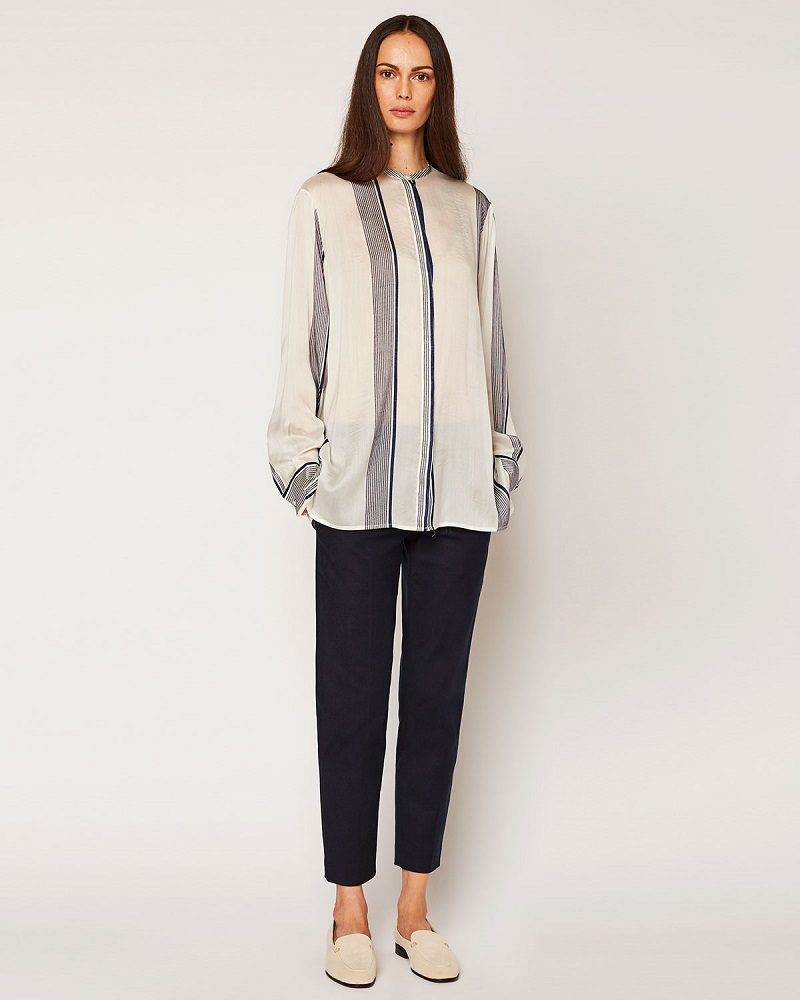 THE ROW Stola Striped Button-Front Blouse
