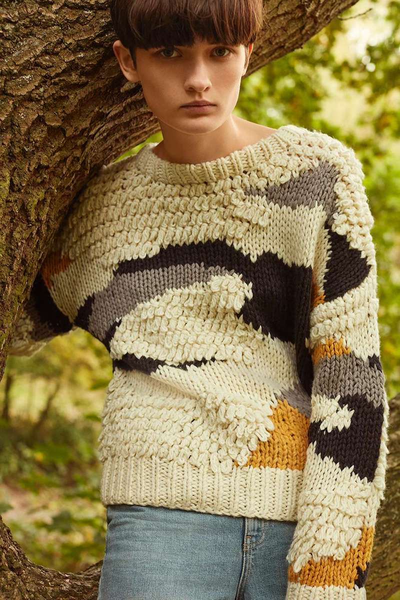 Topshop Hand Knitted Patchwork Jumper