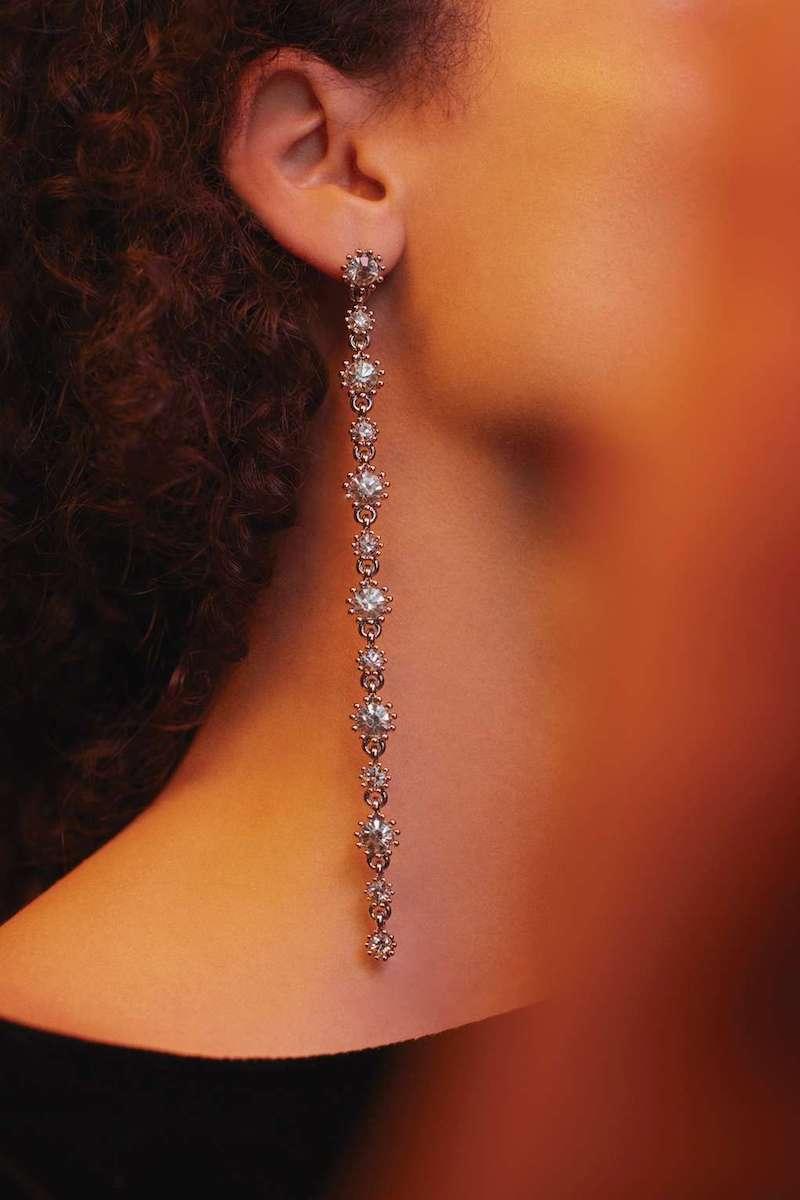 Topshop Long Rhinestone Drop Earrings