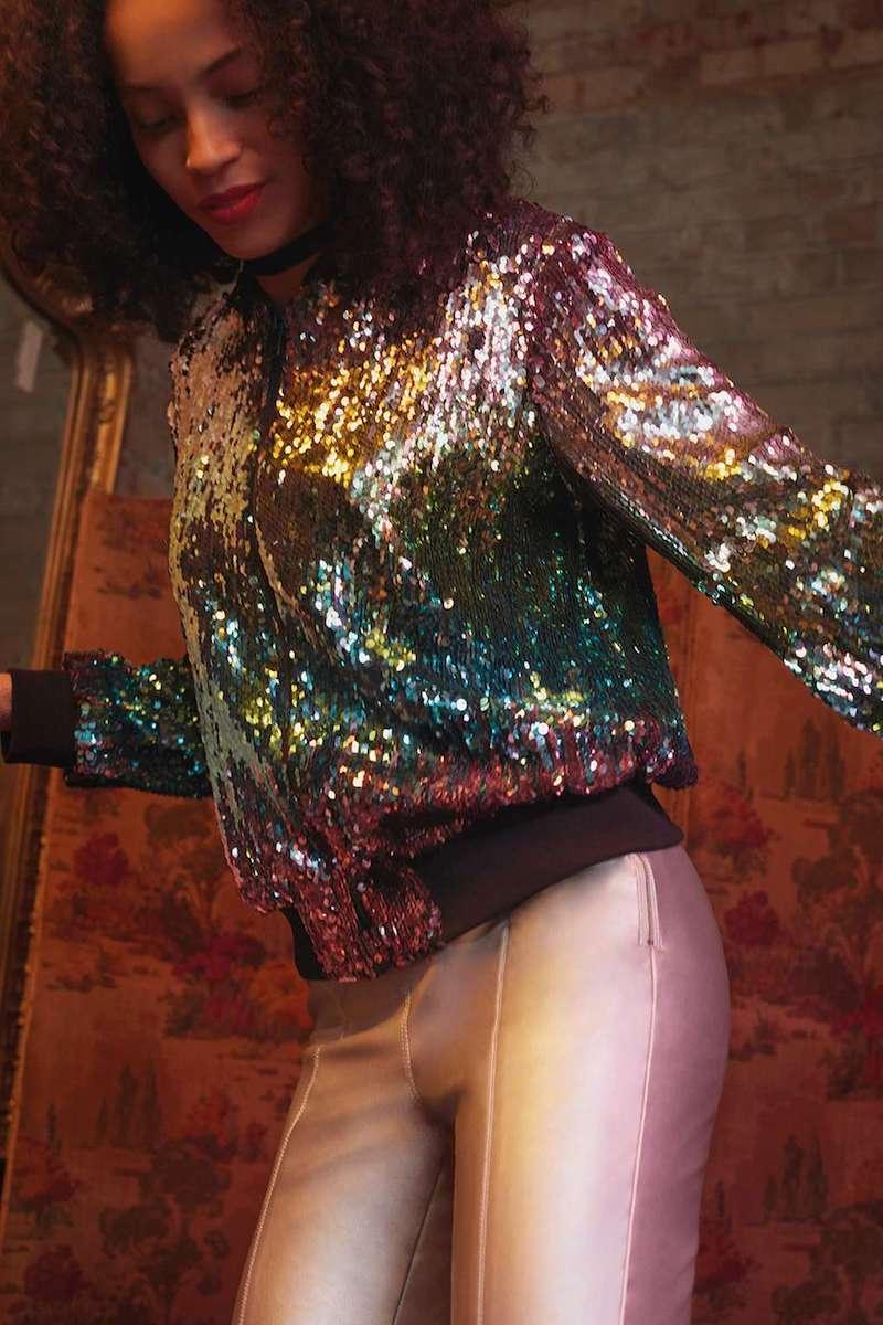 Topshop Sequin Velvet Bomber Jacket