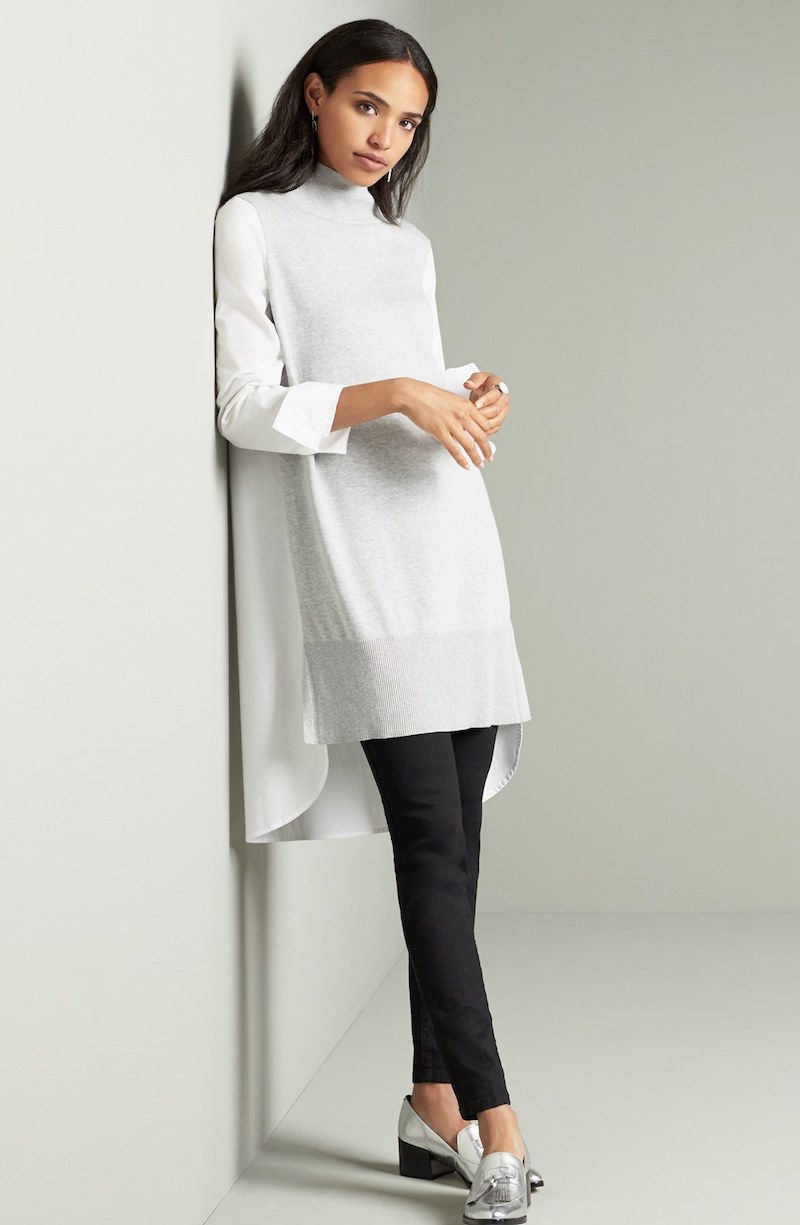 Two by Vince Camuto Poplin & Sweater Knit Turtleneck Tunic
