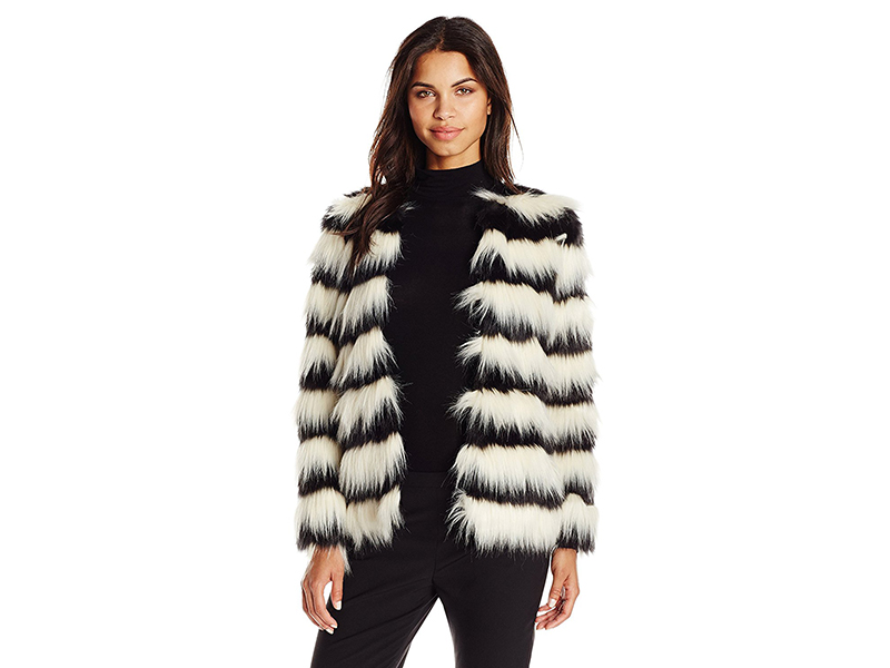 Vero Moda Stripe Short Faux-Fur Jacket