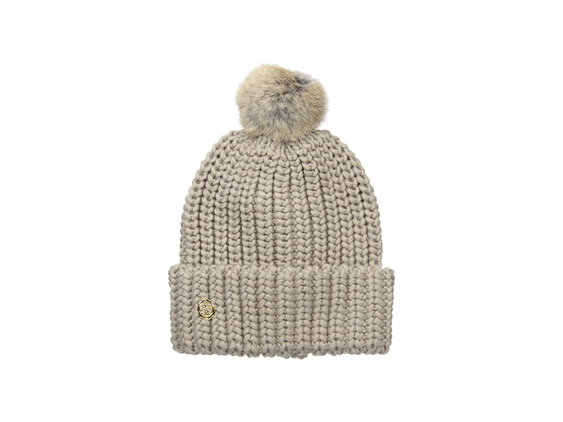 Vince Camuto Chunky Knit Cuff Beanie with Striped Pom