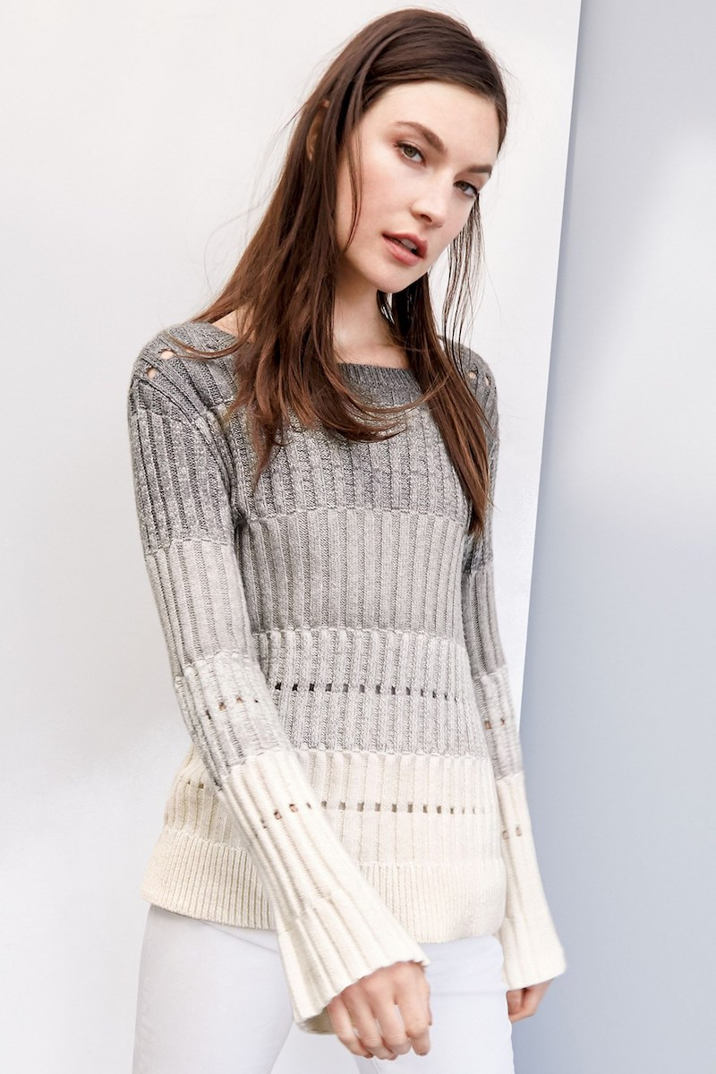 Vince Camuto Ombré Stripe Pointelle Sweater