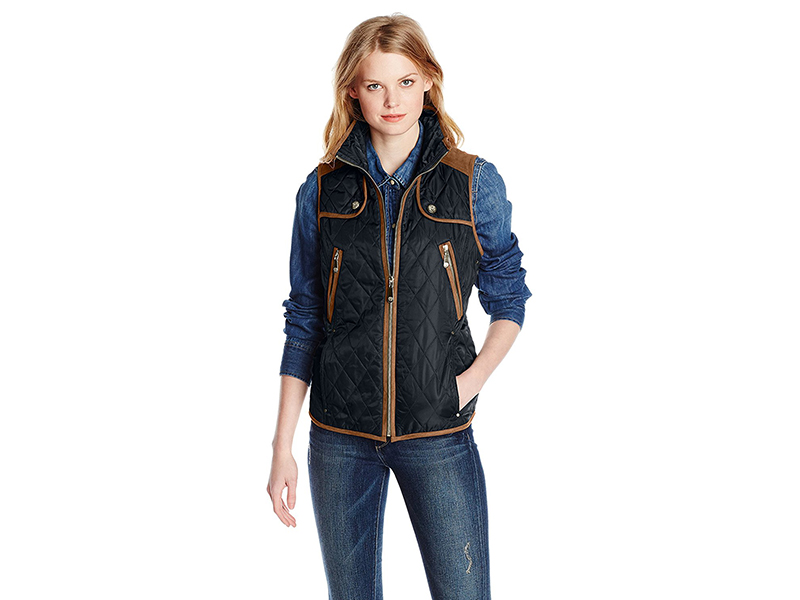 Vince Camuto Quilted Vest with Suede Trim