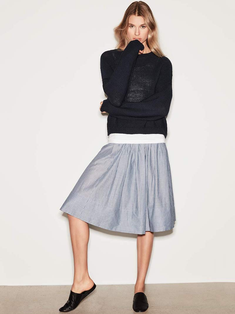 Vince Pencil-Stripe Shirred Full Skirt