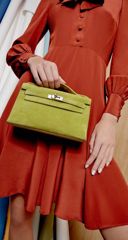 Vintage Hermès Vert Chartreuse Veau Doblis Suede Kelly Pochette