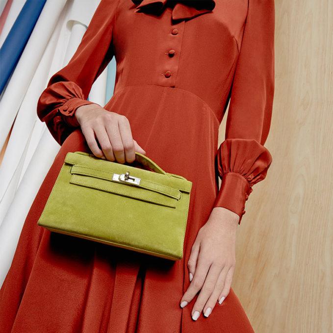 Vintage Hermès Vert Chartreuse Veau Doblis Suede Kelly Pochette 1