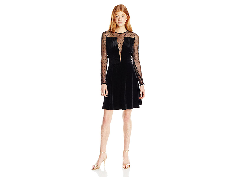 XOXO Valentine Velvet Long Sleeve Mesh Illusion Dress