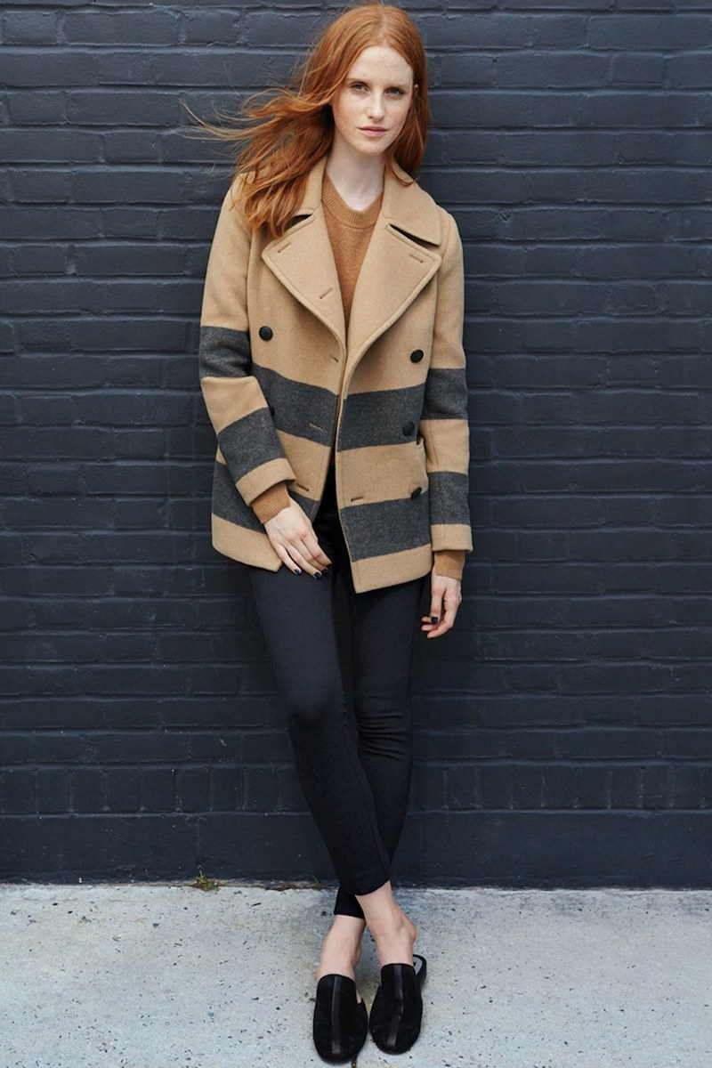 rag & bone Skye Stripe Wool Blend Peacoat