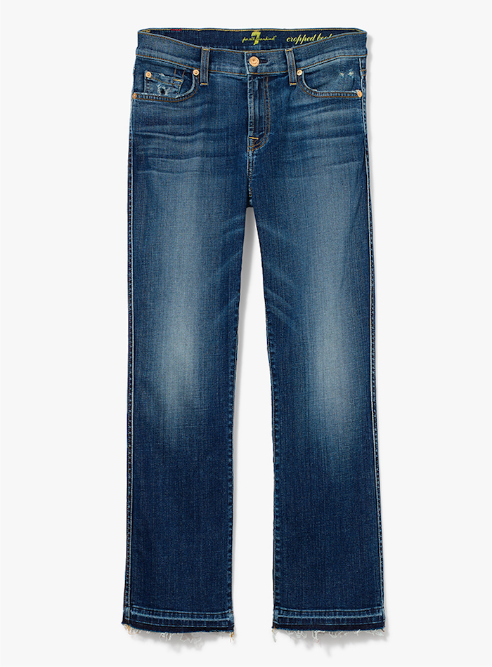 7 For All Mankind Cropped Boot Jean with Distress and Released Hem
