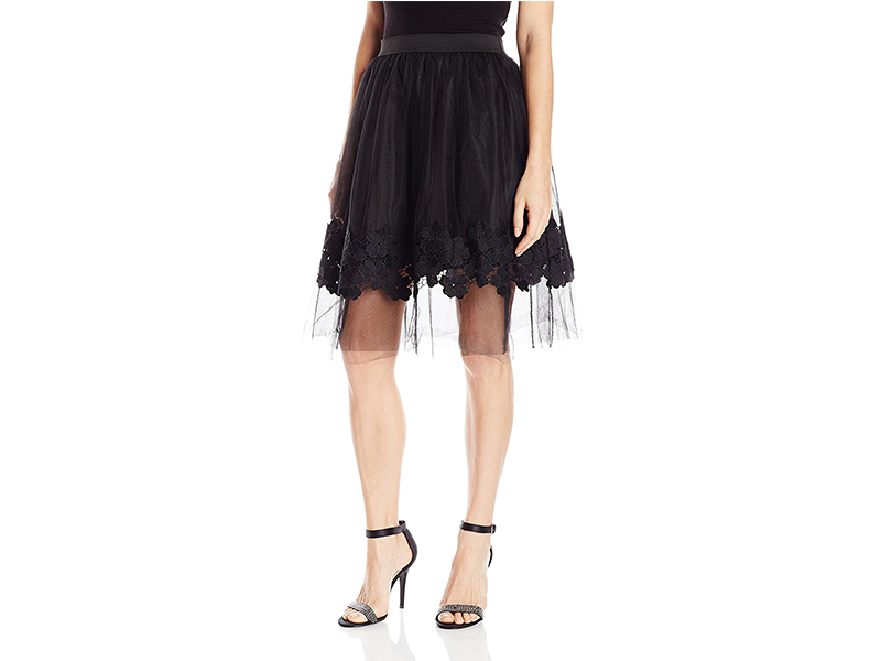 A. Byer Tulle Midi Skirt with Elastic Waistband and Floral Detail