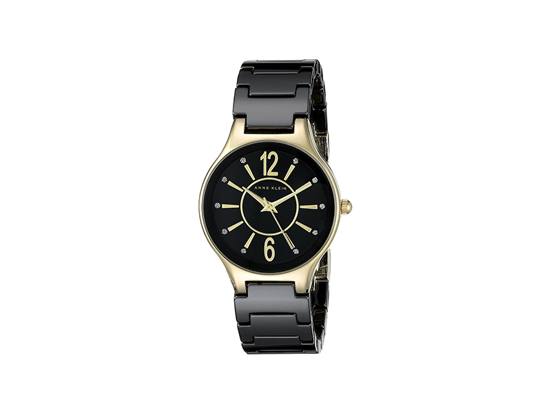 Anne Klein AK/2182BKGB Glitter Accented Gold-Tone and Black Ceramic Bracelet Watch