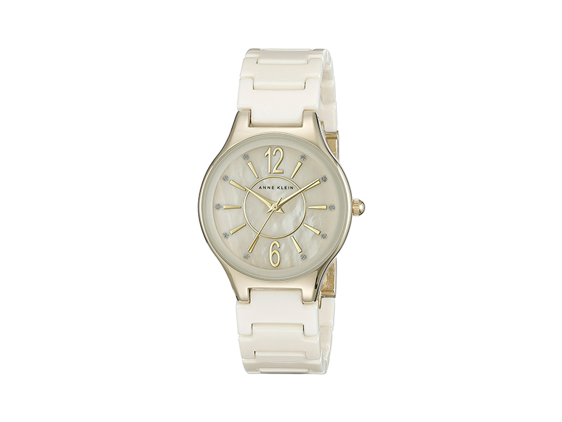 Anne Klein AK/2182IVGB Glitter Accented Gold-Tone and Ivory Ceramic Bracelet Watch