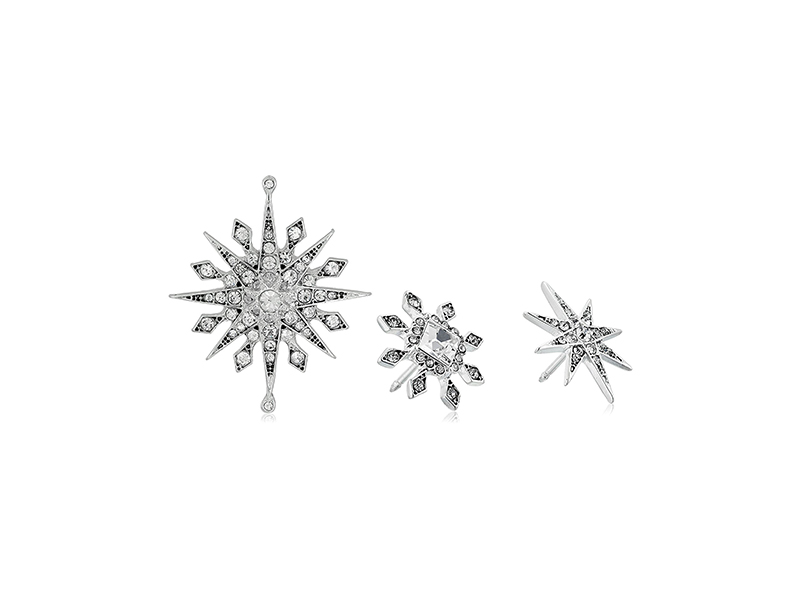 Anne Klein Holiday Boxed Silver-Tone Crystal Scatter Trio Pin