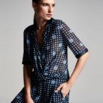 Armani Collezioni Dot-Print Half-Sleeve Blouse