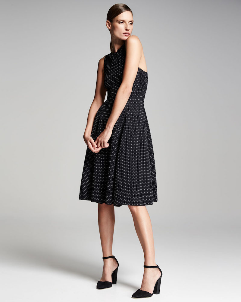 Armani Collezioni Polka-Dot Jacquard Sleeveless Dress
