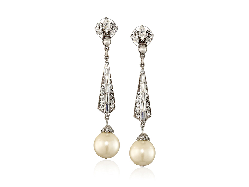Ben-Amun Jewelry Swarovski Crystal and Pearl Drop Earrings