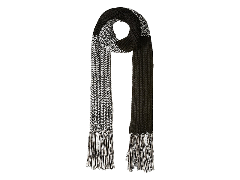 Bickley & Mitchell Extra Long Color Blocked Knit Fringe Scarf