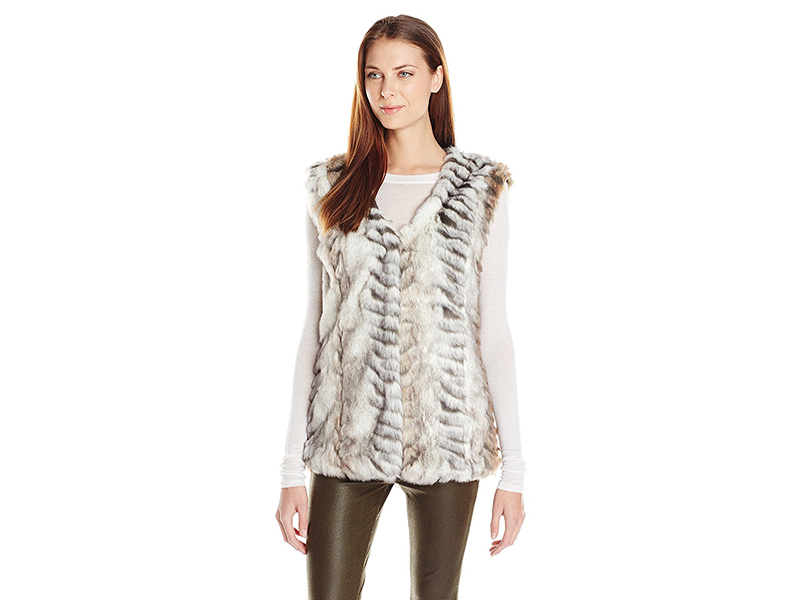 Buffalo David Bitton Jackie Faux-Fur Leopard Animal-Print Vest