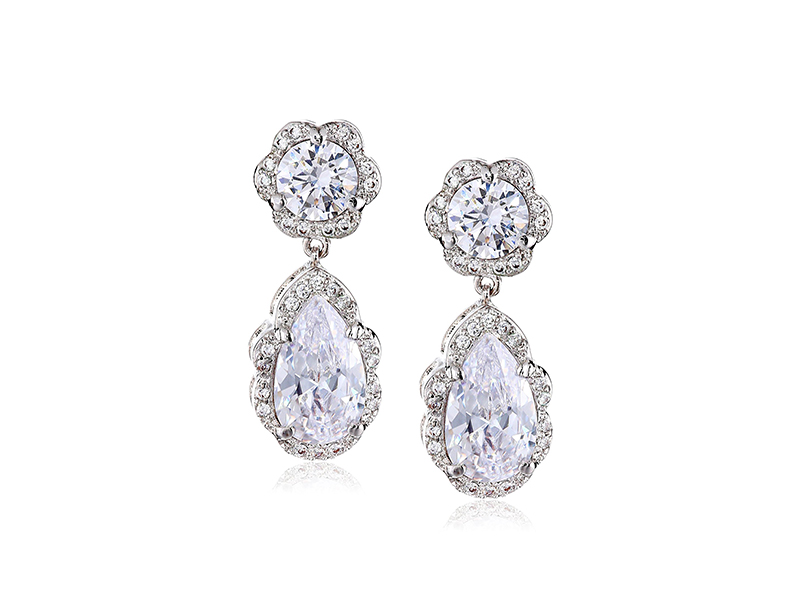 CZ by Kenneth Jay Lane Classic Round, Pear and Pave Cubic Zirconia Post Drop Earrings