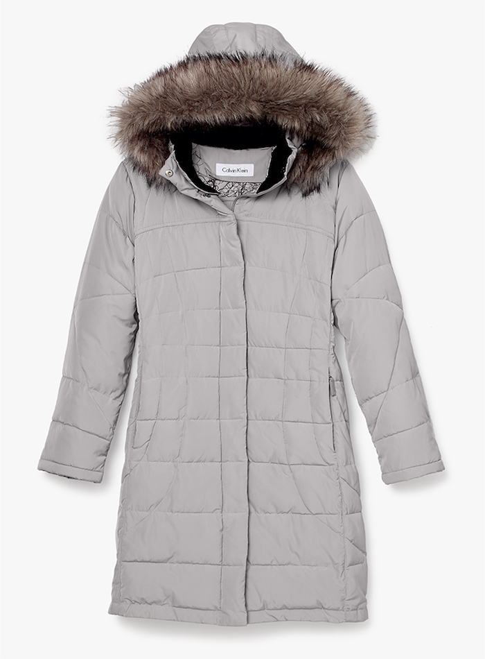 Calvin Klein Puffer Long Coat with Faux Fur Trimmed Hood