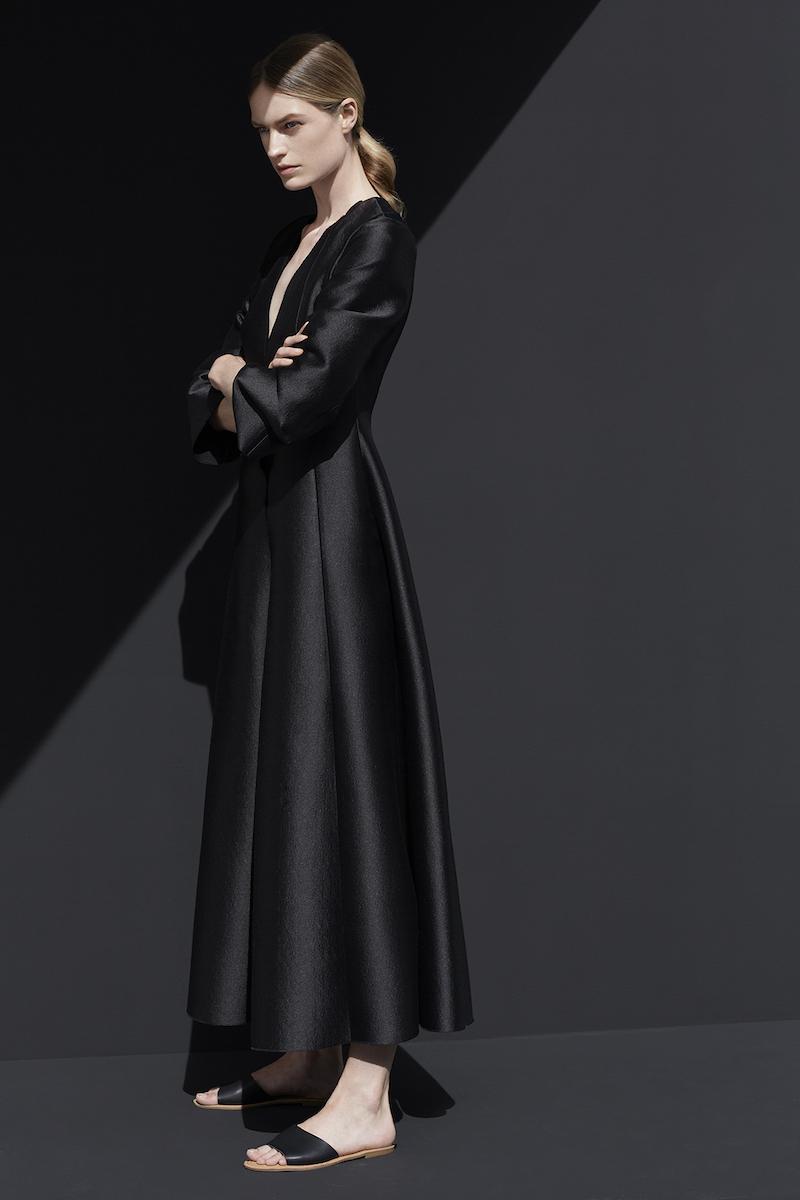 Carl Kapp Dusk Wool-Blend Satin Coat Dress