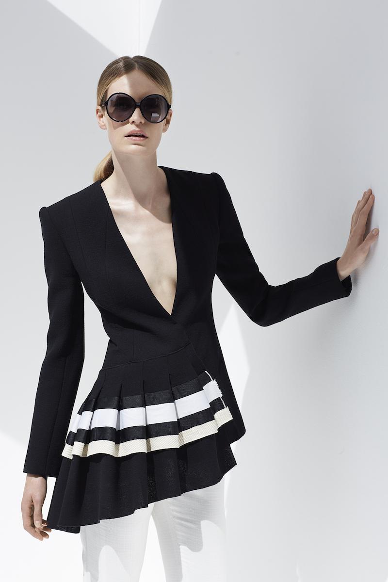 Carl Kapp Fan Asymmetric Wool-Crepe Jacket