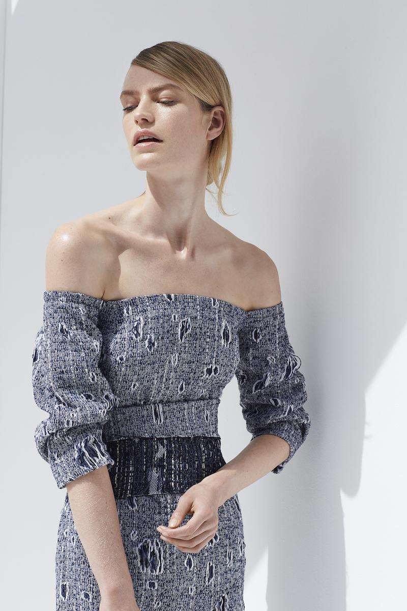 Carl Kapp Jean Off-The-Shoulder Bouclé Dress