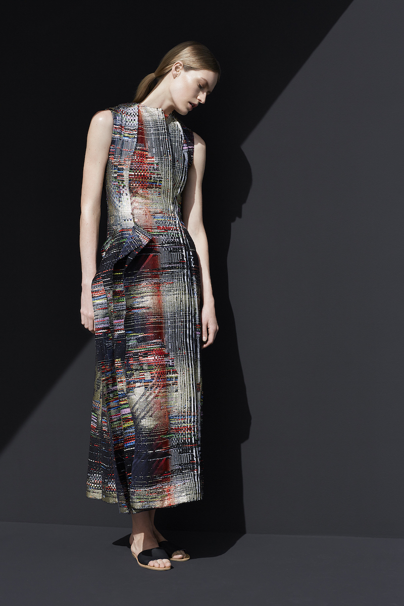 Carl Kapp Painterly Jacquard Sleeveless Dress