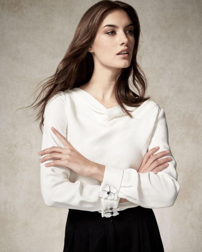 Carolina Herrera Floral-Cuff Bateau-Neck Blouse