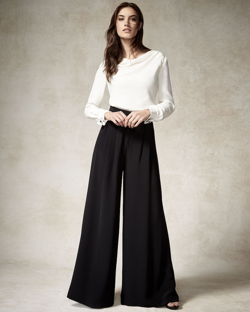 Carolina Herrera Wide-Leg Pants with Pleated Front