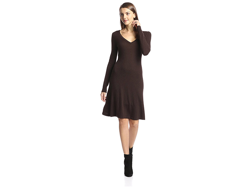 Cashmere Addiction Long Sleeve V-Neck Dress
